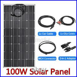 100W IP65 Flexible Solar Panel 20V Battery Charge Device Kit USB For Boat Home
