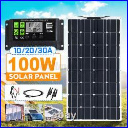 100W IP65 Flexible Solar Panel 20V Battery Charge Device Kit USB For Boat Home v