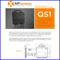 1200W 240V Grid-Tie 4 panel Micro Inverter by APS QS1 120/240 UL Listed