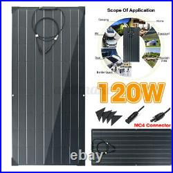 120W Flexible Solar Panel Kit Monocrystalline Camping Charge Battery Connector b