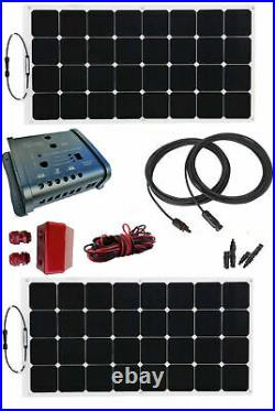 200W 2x100W flexible solar panel kit 20A charger dual controller motorhome boat