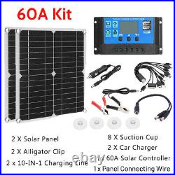 600W Solar Panel Kit 60A Sun Power Solar Cells Bank Pack with 10in1 USB Cable