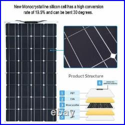 Flexible Solar Panel Kit 50A Controller Cable PV Adapter Wire Power Source Tools