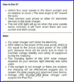 Solar Panel Charger Cell Phone Portable Waterproof Hiking Camping Outdoors 28W