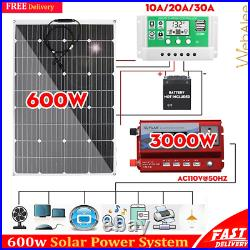 Solar Panel Kit Complete 600W Home Outdoor RV Inverter Generator System Off Grid
